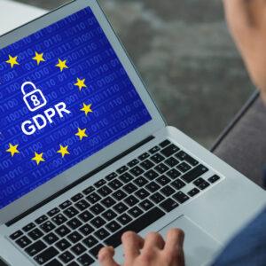 European Union locked against business executive using laptop